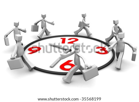 Group of businessman carrying briefcase run around a clock 3d illustration