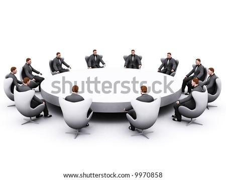 group of businessman sitting around an empty table - stock photo