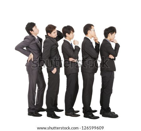 Group of businessman standing in a line waiting - stock photo