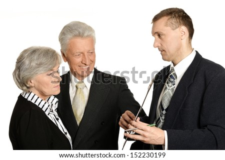 Group of businessmen discussing a project - stock photo