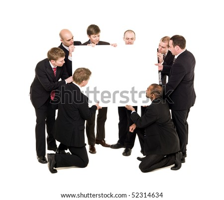 Group of businessmen holding a Billboard - stock photo
