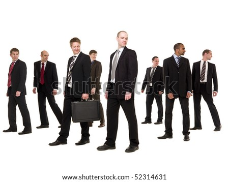 Group of businessmen isolated on white background - stock photo