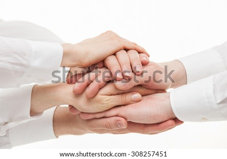 Group of businessmen's hands  on white background - stock photo