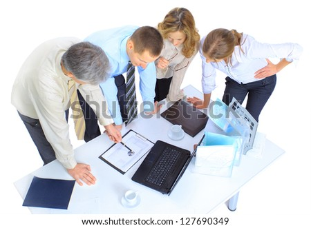 Group of businessmen the conclusion of the transaction. - stock photo