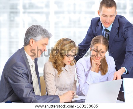 Group of businessmen to discuss the work plan. - stock photo