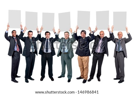 Group of businessmen with cards isolated in white - stock photo