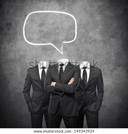 Group of businessmen without heads and with empty bubbles speech - stock photo