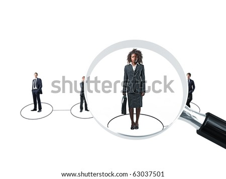group of businesspeople and 3d magnifier