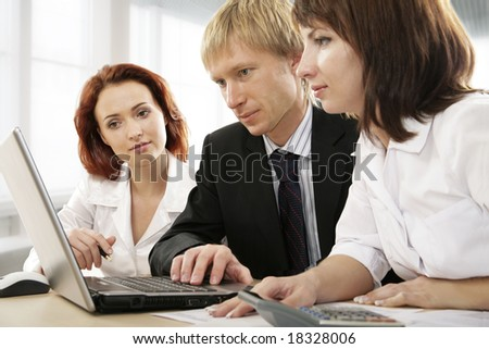 Group of businesspeople at a meeting - stock photo