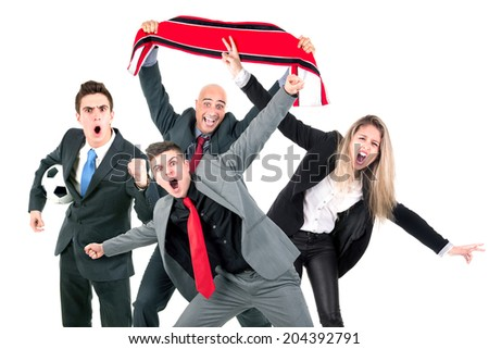 Group of businesspeople celebrating football