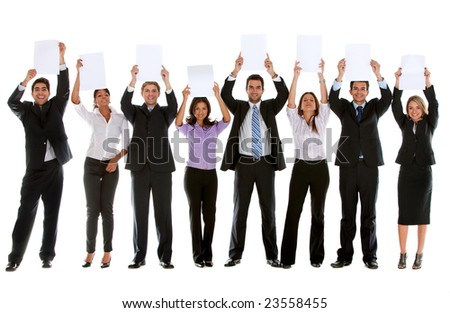 Group of businesspeople isolated holding white cardboards to fill in