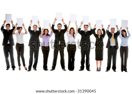 Group of businesspeople isolated holding white cardboards to fill in - stock photo