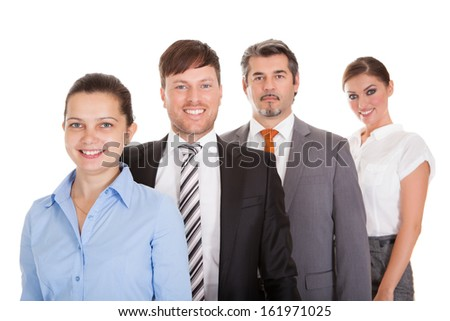 Group Of Businesspeople Standing In A Row Over White Background - stock photo