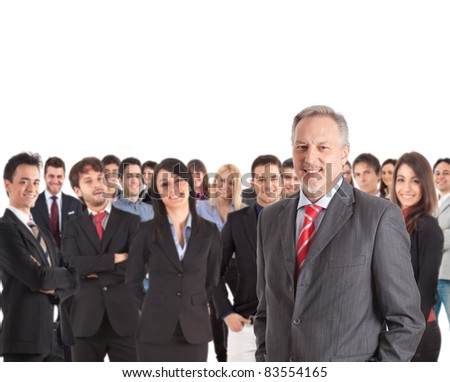 Group of businesspeople. Their leader is on the front - stock photo