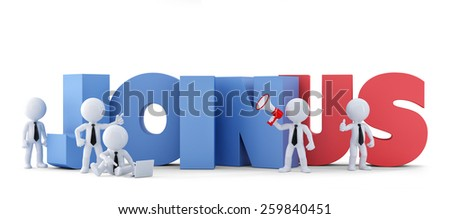 Group of businesspeople with JOIN US sign. Business concept.Isolated. Contains clipping path. 3d illustration - stock photo