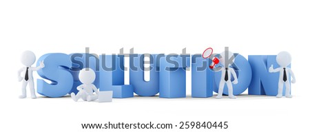 Group of businesspeople with SOLUTION sign. Business concept.Isolated. Contains clipping path. 3d illustration - stock photo