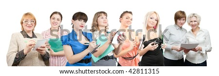 Group of businesswomen. Isolated over white background - stock photo