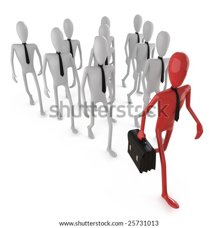 group of bussines dummies following a leader. This image contains clipping path for exact isolation from the background