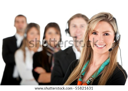 Group of call center workers - isolated over a white background - stock photo