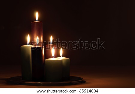 Group of candles for the holidays - stock photo