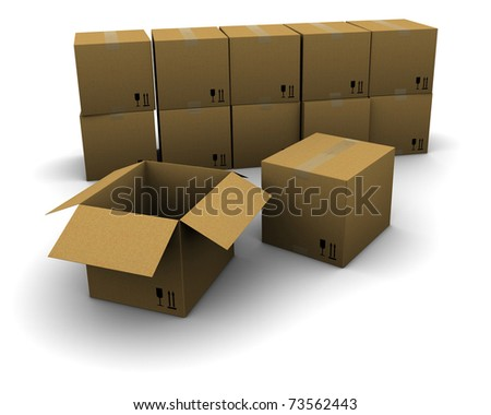 Group of cardboard boxes - stock photo