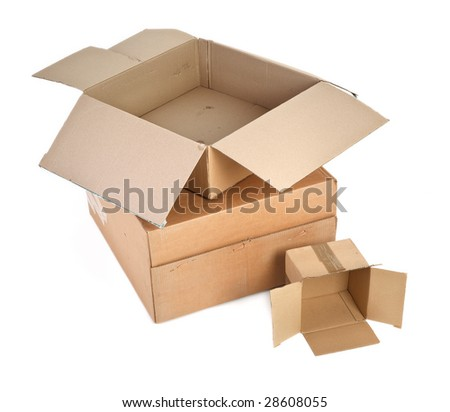 group of cardboard boxes againt white background