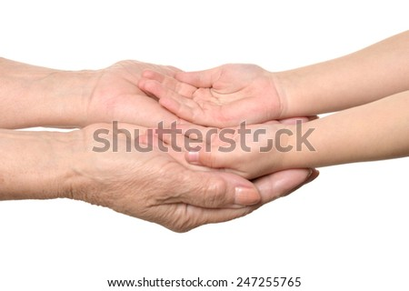 Group of care hands - stock photo