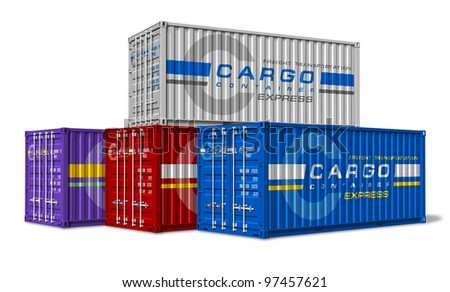 Group of cargo containers isolated on white background - stock photo