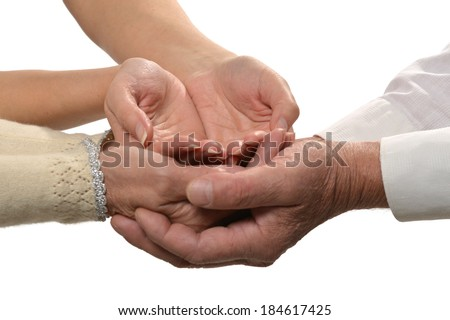 Group of caring hands closeup isolated on white background - stock photo
