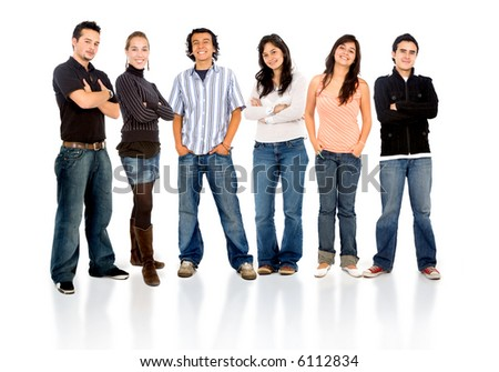 group of casual happy friends smiling and standing isolated over a white background - stock photo