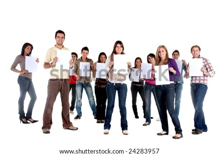 Group of  casual people isolated holding white cardboards to fill in