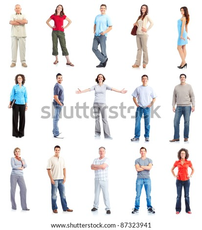 Group of casual people. Isolated on white background. - stock photo