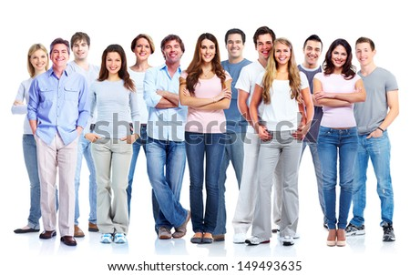 Group of casual people. Isolated over white background. Education. - stock photo
