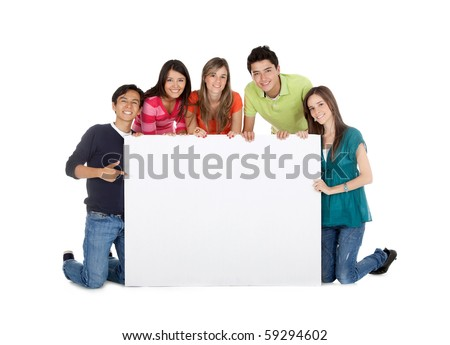Group of casual people with a banner - isolated over a white background - stock photo