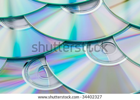 Group of CDs or DVDs. - stock photo