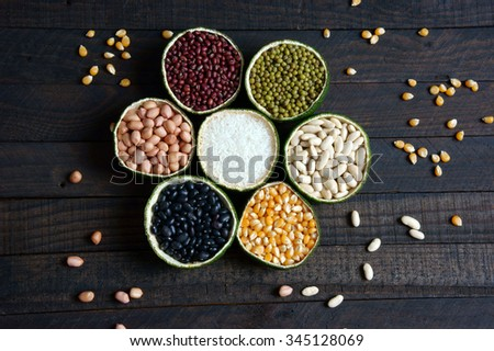 Group of cereals, healthy food, rich vitamin b, fibre, rich carbohydrates and protein, use grain everyday can help lose weight, reduce calories,  prevent cancer and antioxidant, this food very cheap - stock photo