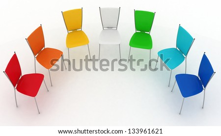 group of chairs costs a half-round - stock photo