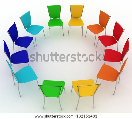 group of chairs costs round - stock photo