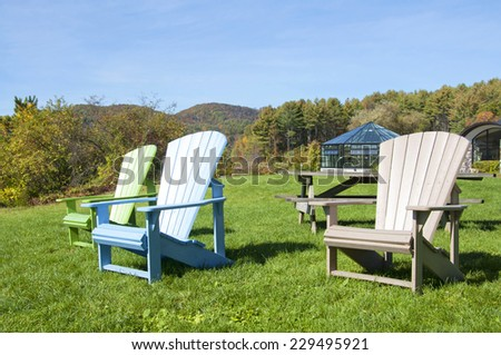 Group of chairs in a park, New England - stock photo