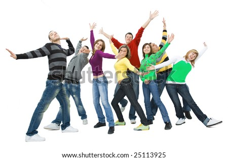 group of cheerful friends raising their hands