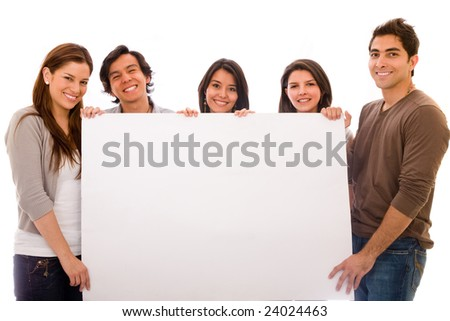 Group of cheerful people holding a banner ad isolated - stock photo