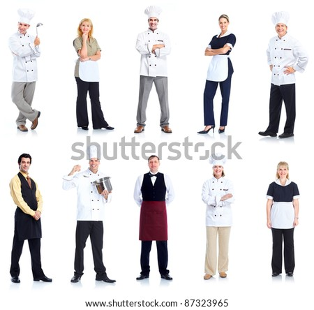 Group of chef man and a waitress woman. Isolated over white background - stock photo