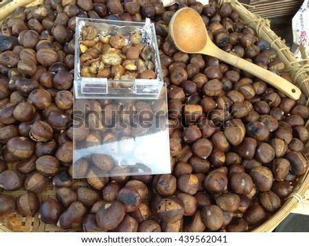 Group of chestnuts  - stock photo