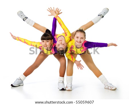 group of children acrobats.sporting exercise.image of athletes on a white background. - stock photo
