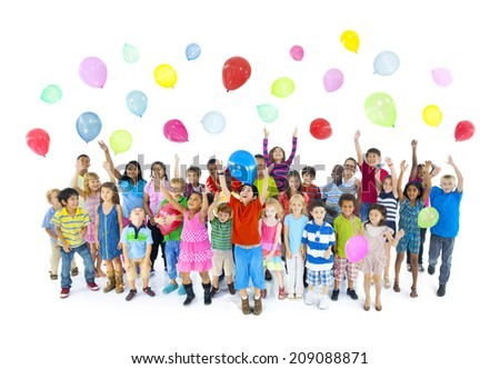 Group of Children Celebrating - stock photo