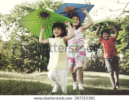 Group of Children Friends Play Happiness Concept - stock photo