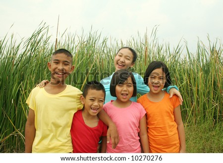 Group of children having a good time - stock photo