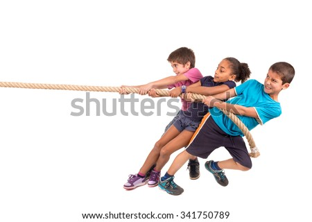 Group of children in a rope-pulling contest