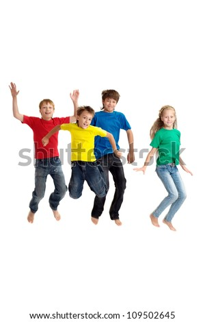 Group of children in bright T-shirt on a white background - stock photo
