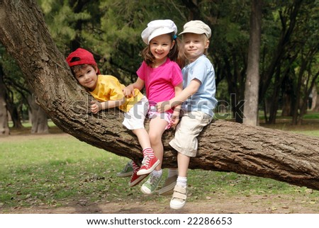 Group of children in park - stock photo